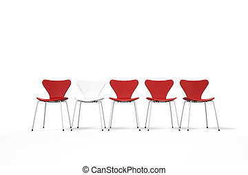 Unique concept with red and white chairs