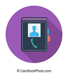 unique, contact, livre, icon.