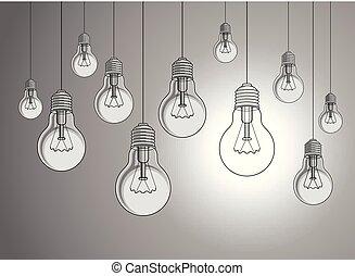 unique, créatif, une, inspiration., concept, lumière, vecteur, illustration, différent, foule, dehors, stand, idée, beau, ampoules, penser, briller