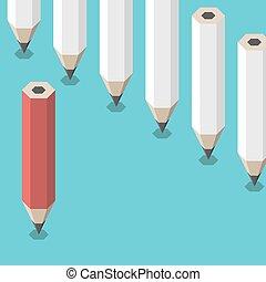 unique, crayon, opposition, rouges