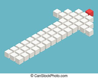 unique, cube, flèche