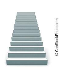 unique, escalier, 3d