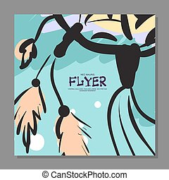 Unique flyer with Dreamcatcher on the background. For guard. It can be used as a postcard. Vector