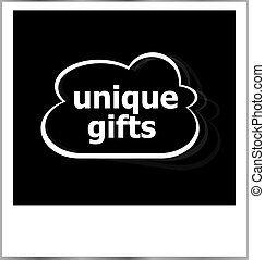unique gifts word holiday concept, photo frame isolated on white