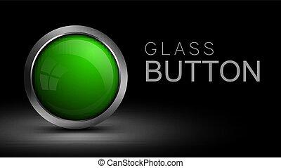 Unique glass green button.