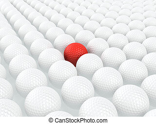 Unique golf ball - 3d render of red golf ball among white...