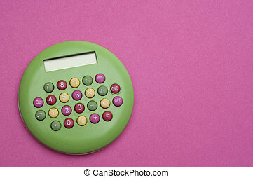 Unique Green Brigth Calculator on Vibrant Pink Background.