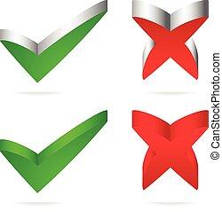 Unique green checkmark, red cross.