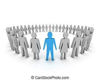 unique., gruppe, i, folk., begreb, 3, illustration