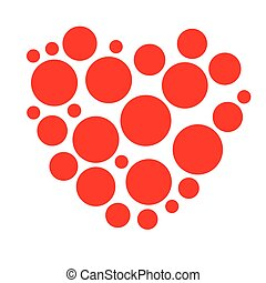 Unique heart element. Heart made of circles. Clip-art for love, affection, marriage heart health concepts