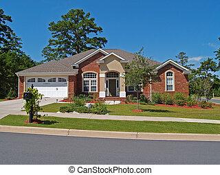 unique, histoire, brique, résidentiel, maison