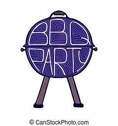 Unique illustration with a hand-drawn lettering for the BBQ Party.