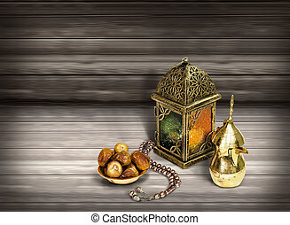 Unique lantern on wooden background