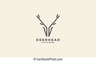 unique line art deer head logo vector icon symbol graphic design illustration
