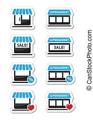 unique, magasin, supermarché, icônes