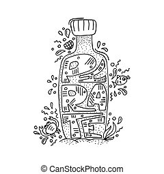 Unique modern illustration with hand-drawn lettering Pirate inside the bottle
