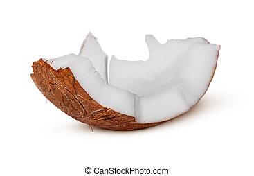 unique, morceau, noix coco, pulpe