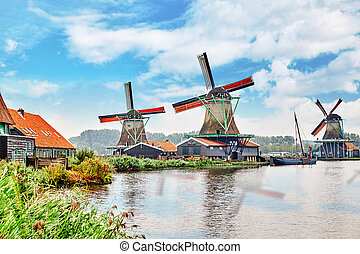 Unique old, authentic, real working windmills in the suburbs of Amsterdam, the Netherlands