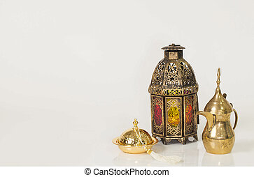 Unique old lantern with Arabic coffee pot