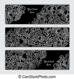 Unique pattern card set with art flowers.