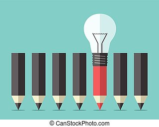 Red unique different pencil with light bulb standing out from crowd of black ones. Creative idea, creativity, insight, inspiration and individuality concept. EPS 8 vector illustration, no transparency
