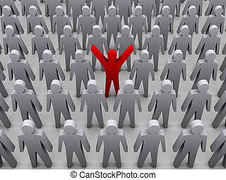 Unique person in crowd. - Unique person in crowd. Concept 3D...