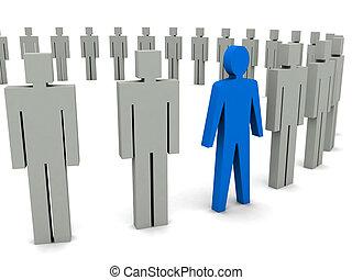 Unique person in row. - Unique person in row. Concept 3D...