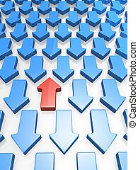 Out standing red arrow pointing up direction concept 3d illustration