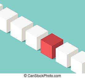 Unique red isometric cube