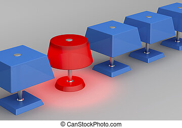 Unique red lamp - One unique red lamp in a row of blue lamps
