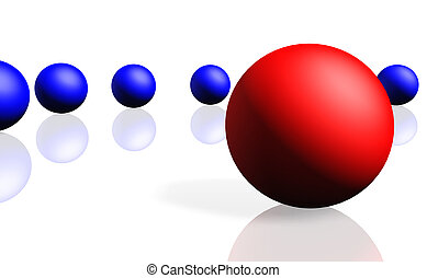 Unique red sphere with a row of dark blue spheres