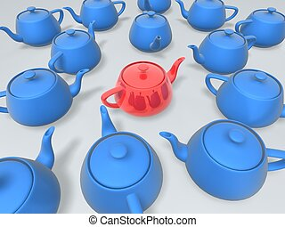 unique red teapot in group of blue teapots
