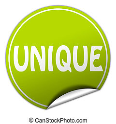 unique round green sticker on white background