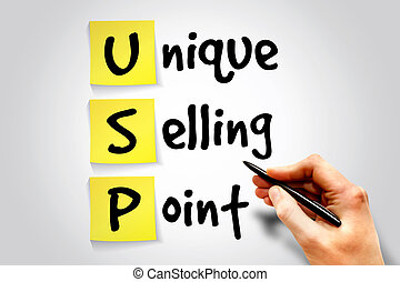 Unique Selling Point (USP) sticky note, business concept acronym