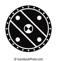 Unique shield simple icon