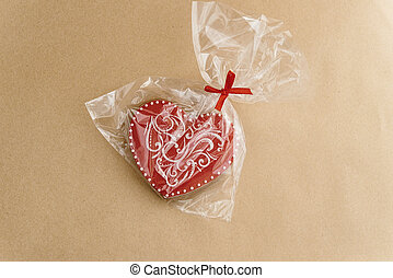 unique stylish red heart cookie, valentines day concept gift