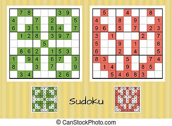 Unique sudoku set - Set of two unique sudoku with answers