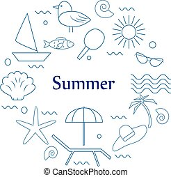 Unique vector concept with different summer and sea vacation...