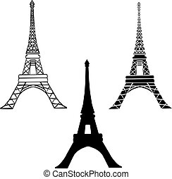 Vector Set Of 3 Black Eiffel Towers in Paris Silhouette In Different Styles
