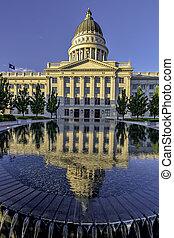 Utah Capital and reflecting pond