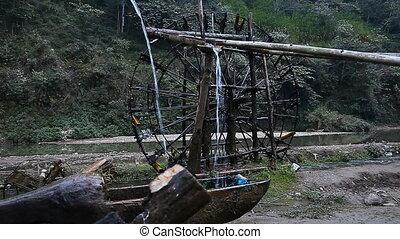 Unique water wheels in Vietnam