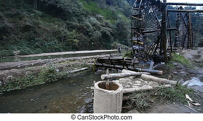 Unique water wheels in Vietnam - System of rice fields...