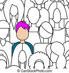 Unique woman in crowd