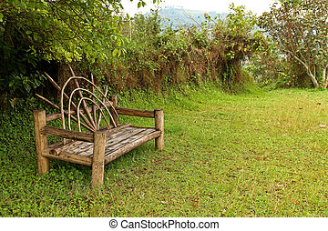 Unique Wooden Bench in a meadow