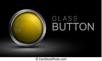Unique yellow glass button for web.