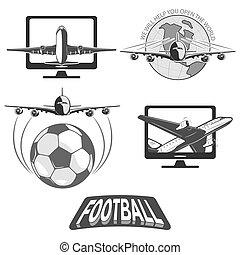 unir, tudo, futebol, peoples., países