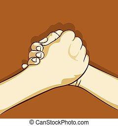 unire, bonding, disegno, o, mano