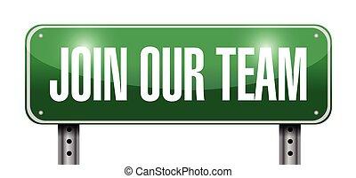 unire, nostro, squadra, segno, illustrazione, disegno