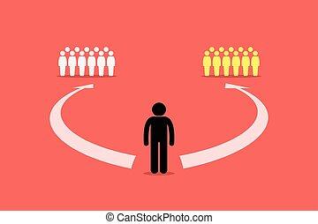 unire, persone., due, squadre, scegliere, fra, gruppo, o, uomo