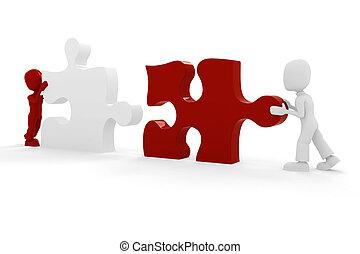 unire, puzzle, concetto, 3d, uomo